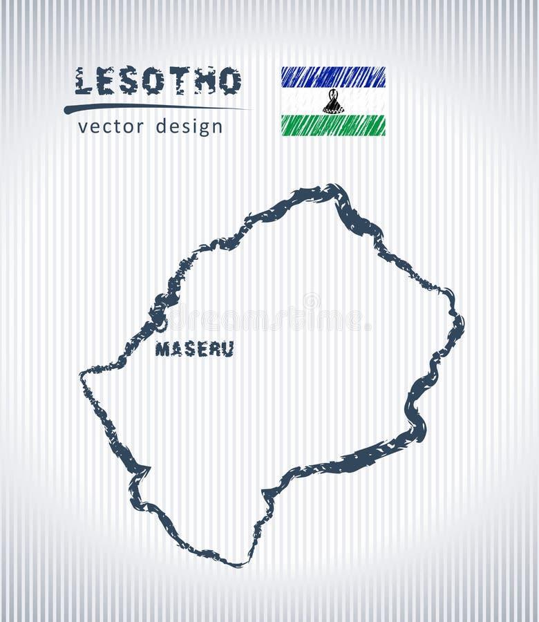 Mapa del dibujo de tiza del vector de Lesotho aislado en un fondo blanco ilustración del vector