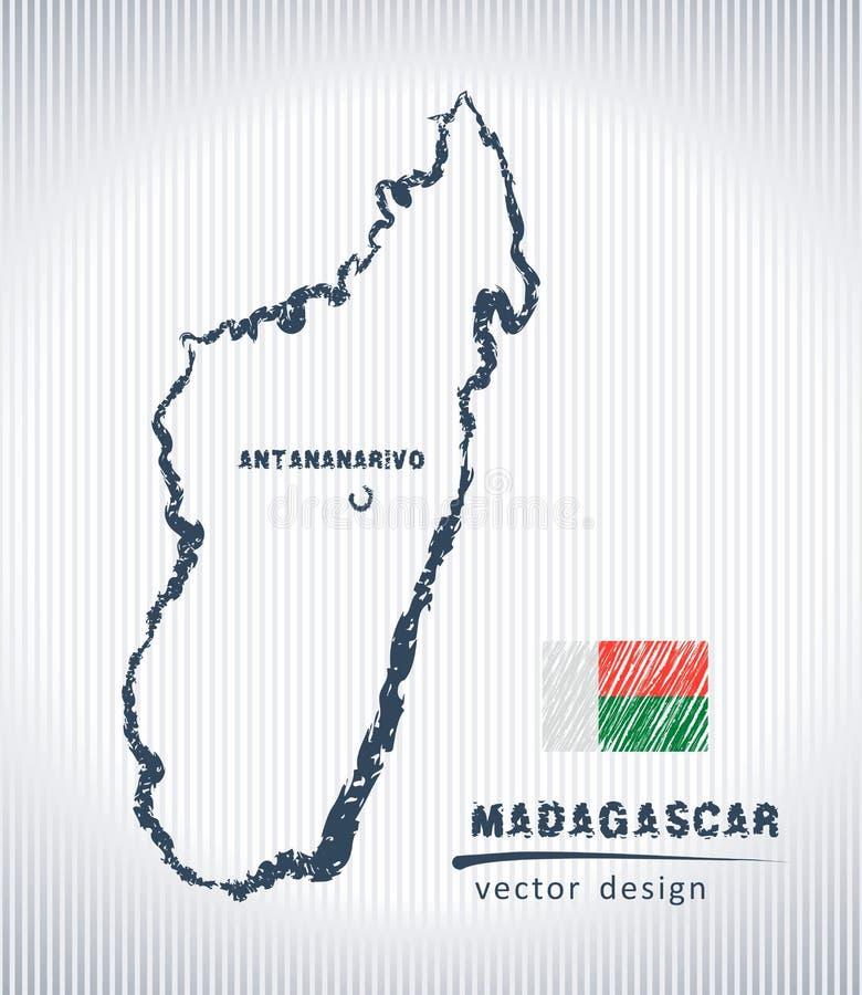 Mapa del dibujo de tiza del vector de Madagascar aislado en un fondo blanco libre illustration