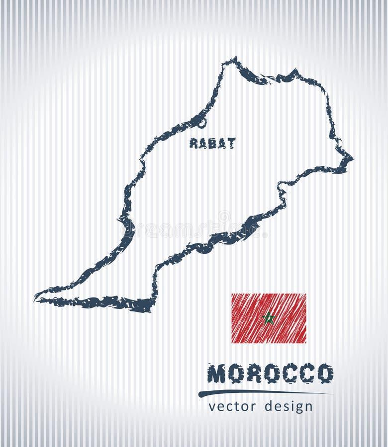 Mapa del dibujo de tiza del vector de Marruecos aislado en un fondo blanco stock de ilustración