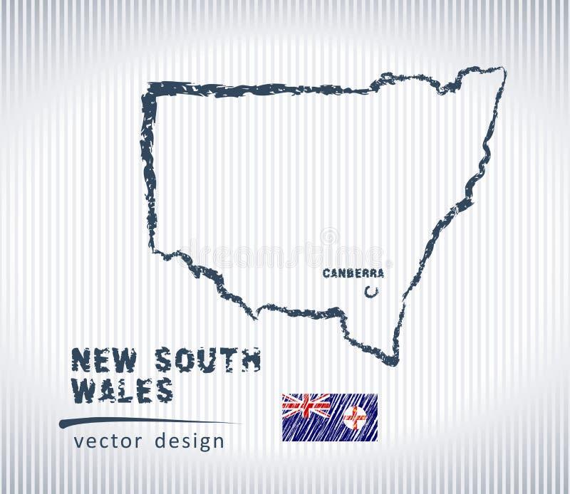 Mapa del dibujo de tiza del vector de Nuevo Gales del Sur aislado en un fondo blanco libre illustration