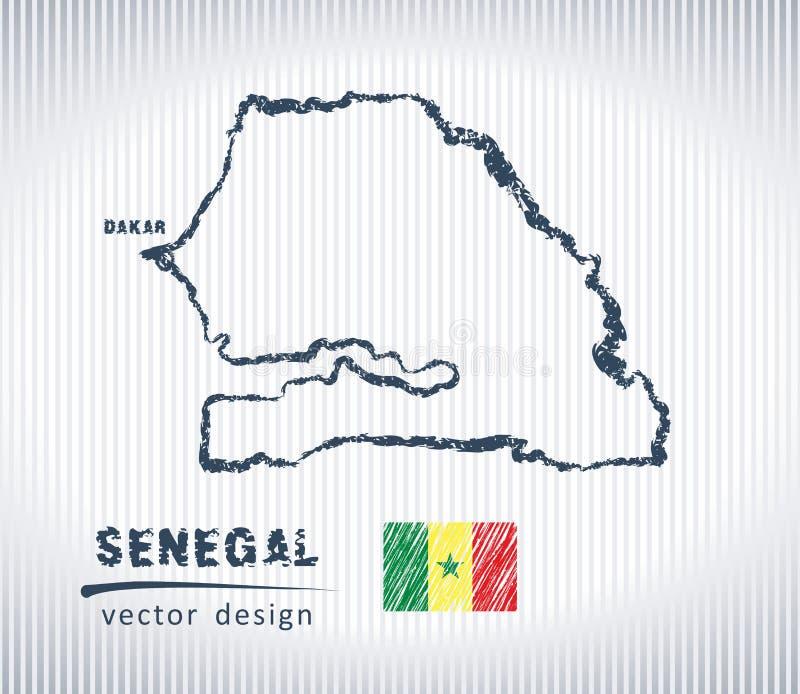 Mapa del dibujo de tiza del vector de Senegal aislado en un fondo blanco stock de ilustración