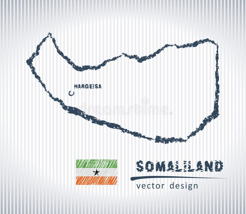 Mapa del dibujo de tiza del vector de Somalilandia aislado en un fondo blanco stock de ilustración