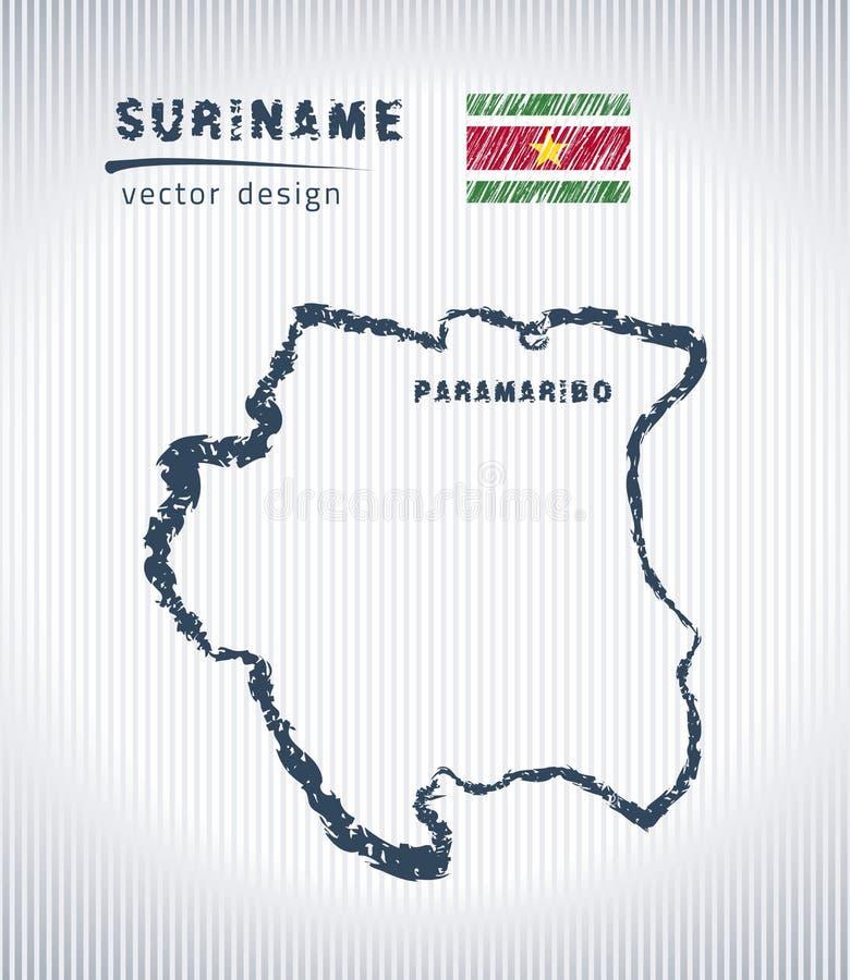 Mapa del dibujo de tiza del vector de Suriname aislado en un fondo blanco ilustración del vector