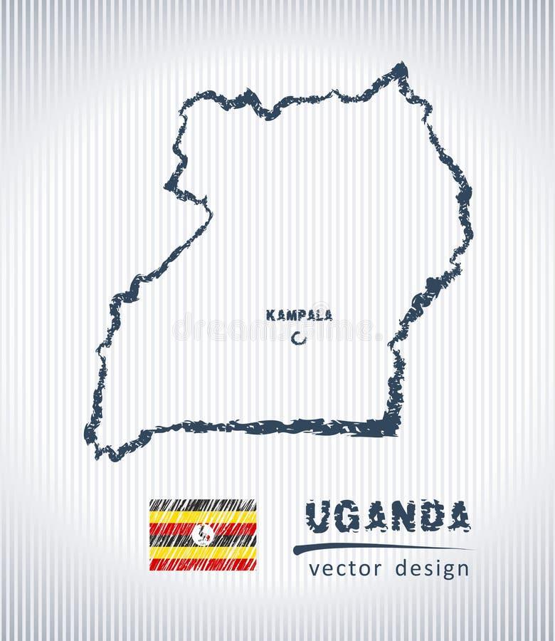 Mapa del dibujo de tiza del vector de Uganda aislado en un fondo blanco ilustración del vector