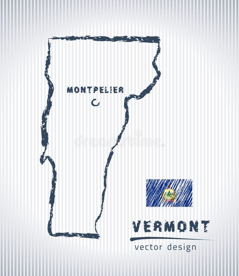 Mapa del dibujo de tiza del vector de Vermont aislado en un fondo blanco ilustración del vector