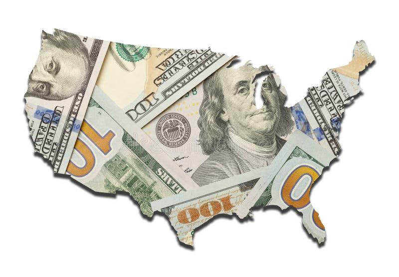 Mapa del dinero de los E.E.U.U. foto de archivo