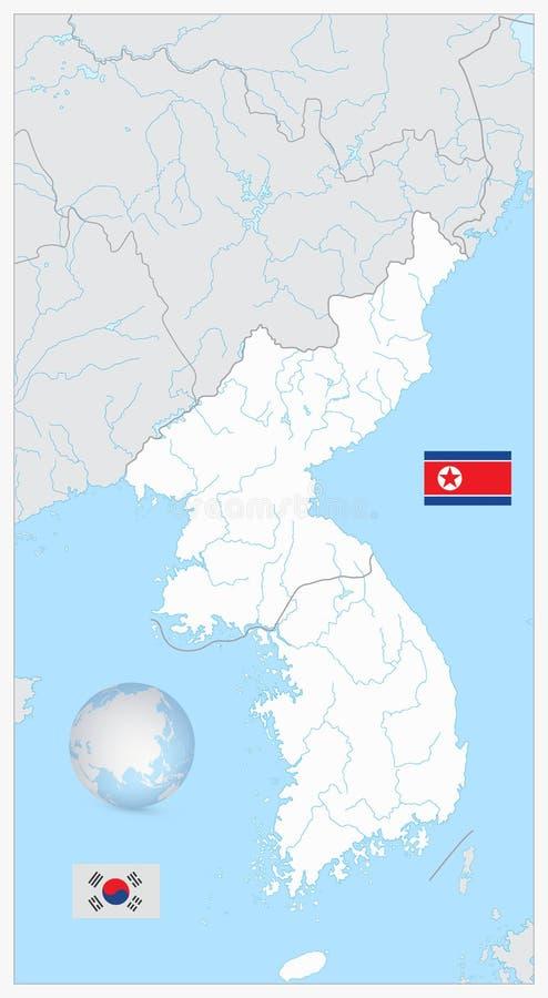 Mapa del espacio en blanco de Corea del norte y sur con los objetos del agua aislados ilustración del vector