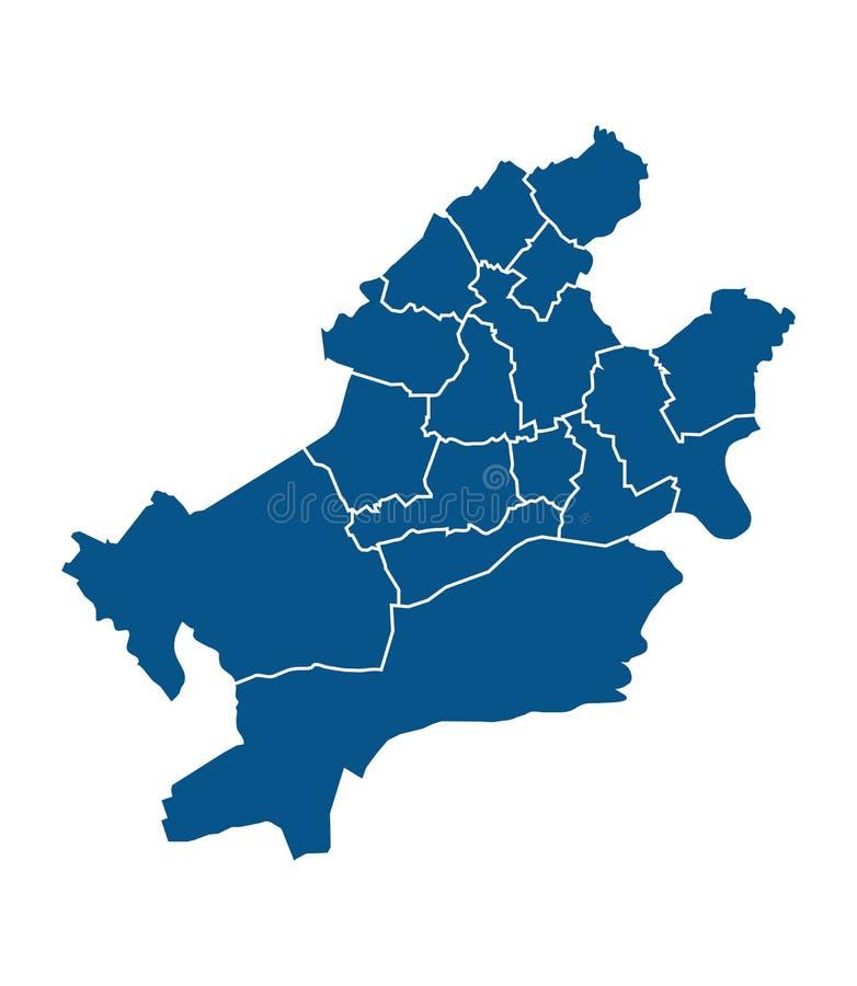 Mapa del esquema de los distritos de Francfort libre illustration