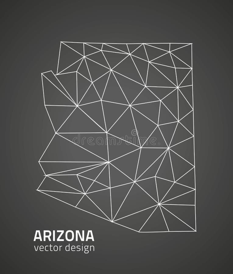 Mapa del esquema del mosaico del triángulo del negro del vector de Arizona stock de ilustración