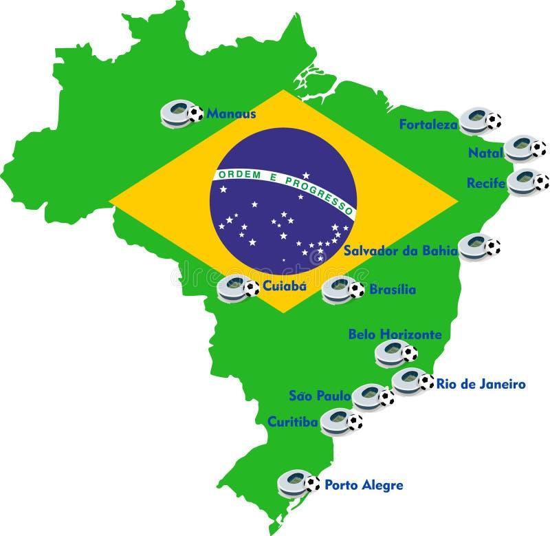 Mapa del estadio de fútbol del Brasil ilustración del vector