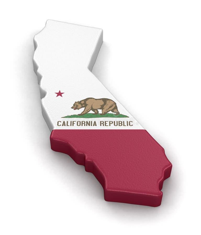 Mapa del estado de California con la bandera fotografía de archivo libre de regalías