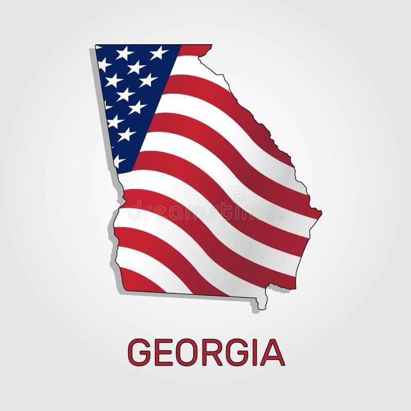 Mapa del estado de Georgia conjuntamente con a que agita la bandera de los Estados Unidos - vector libre illustration