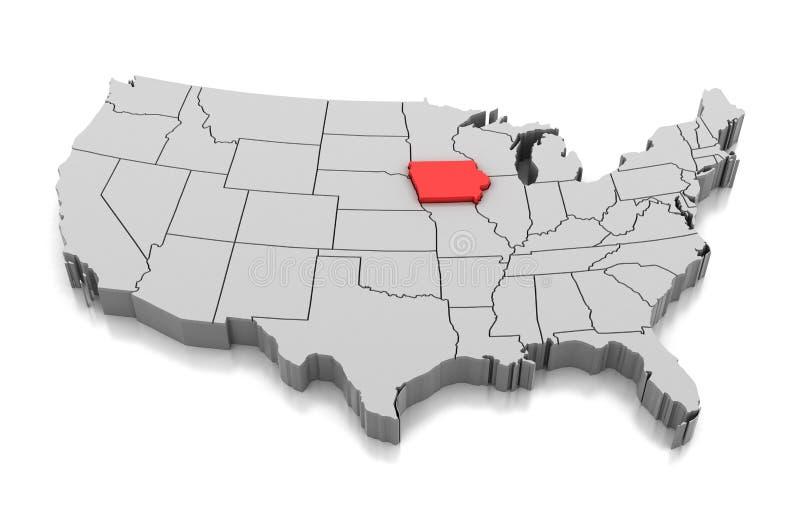 Mapa del estado de Iowa, los E.E.U.U. ilustración del vector