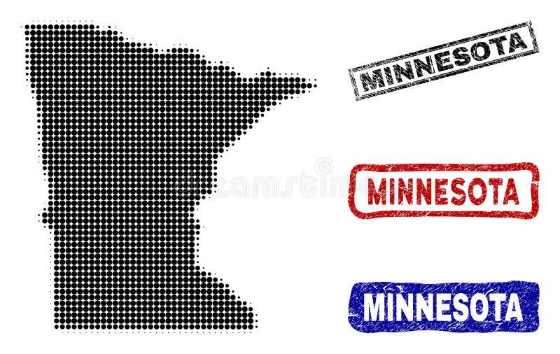 Mapa del estado de Minnesota en Dot Style de semitono con los sellos del subtítulo del Grunge libre illustration