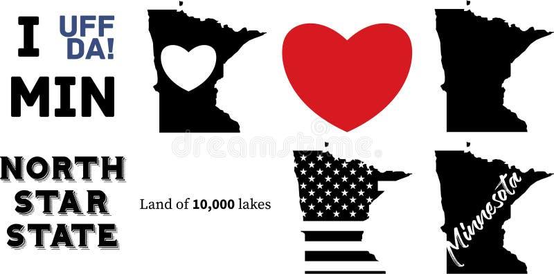 Mapa del estado de Minnesota los E.E.U.U. y la bandera americana ilustración del vector