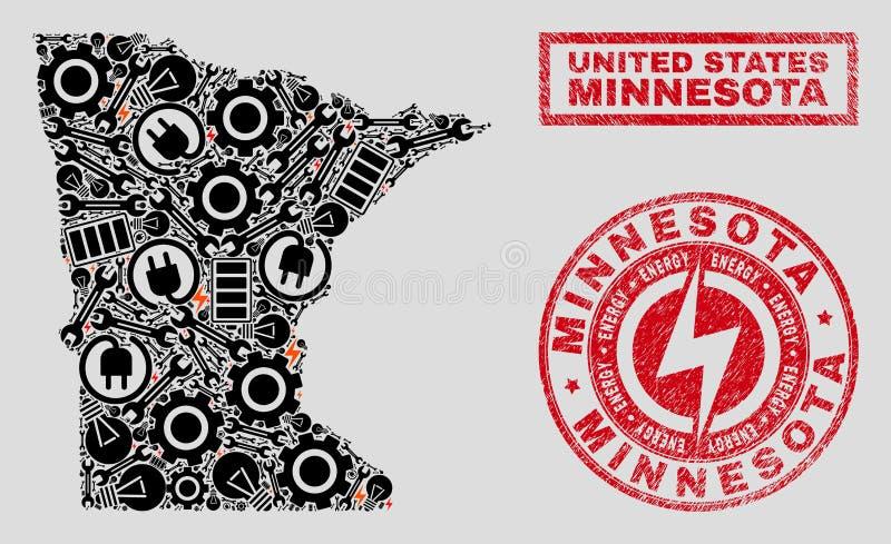 Mapa del estado de Minnesota del mosaico y nieve eléctrica y sellos rasguñados del sello ilustración del vector