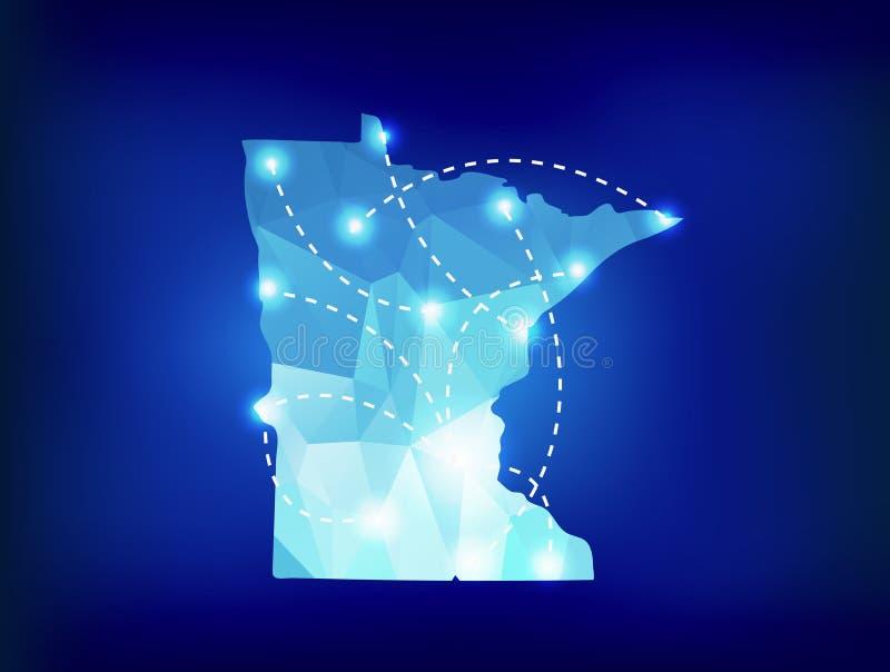 Mapa del estado de Minnesota poligonal con los lugares de los proyectores libre illustration