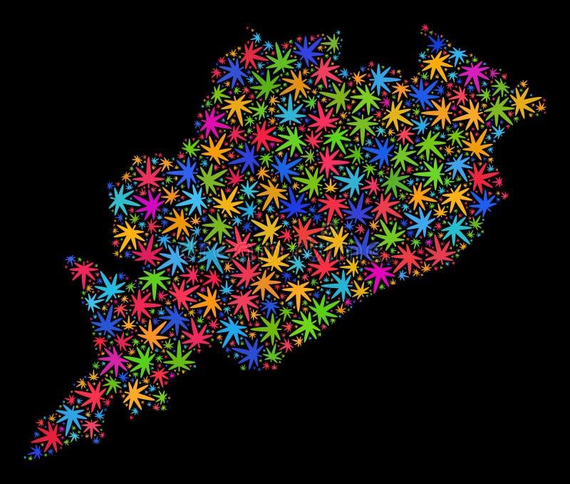 Mapa del estado de Odisha del mosaico de las hojas coloridas del cáñamo stock de ilustración