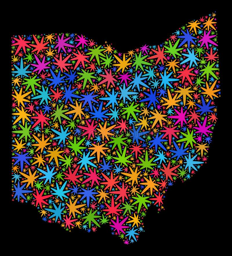 Mapa del estado de Ohio del mosaico de las hojas coloreadas del cáñamo stock de ilustración