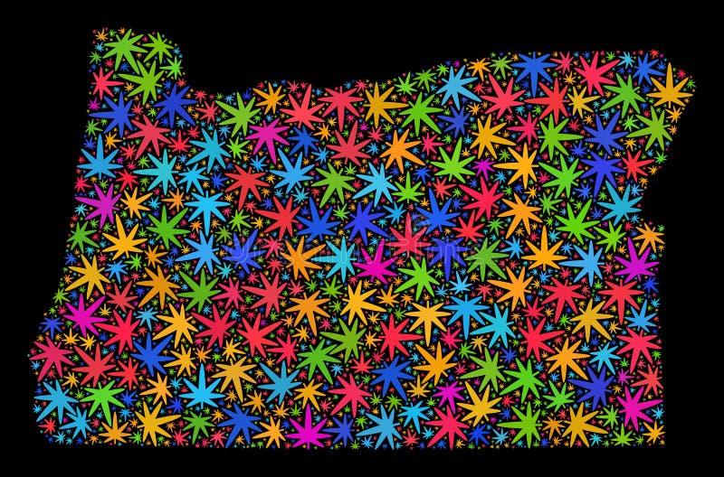 Mapa del estado de Oregon del mosaico de las hojas coloreadas de la marijuana ilustración del vector