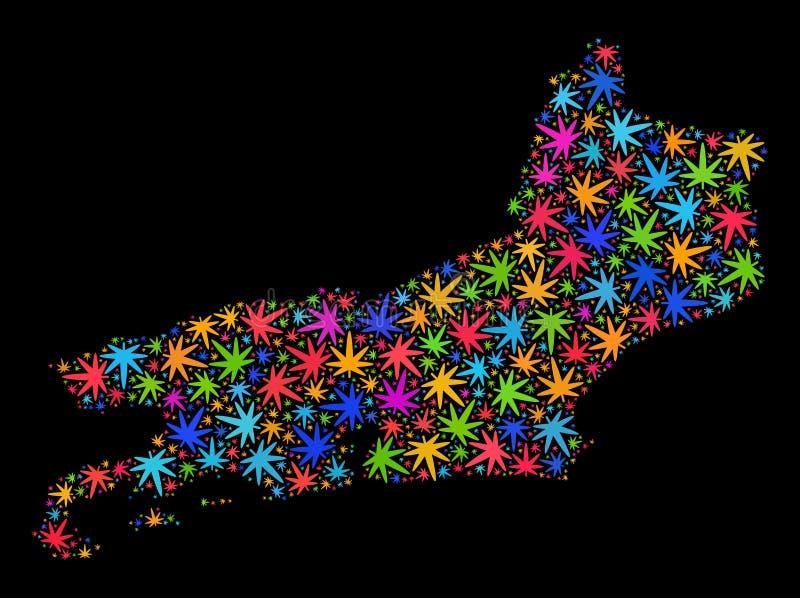 Mapa del estado de Piaui del mosaico de las hojas brillantes del cáñamo libre illustration