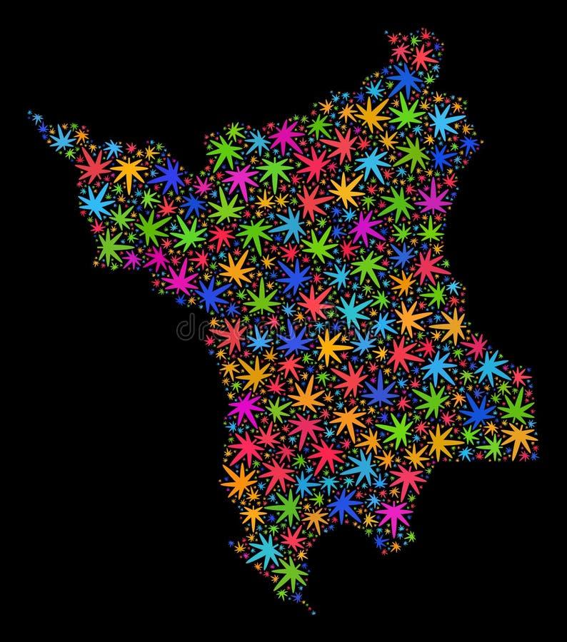 Mapa del estado de Roraima del mosaico de las hojas coloridas del cáñamo libre illustration