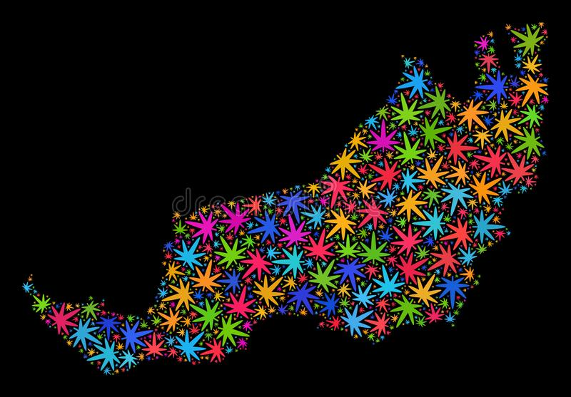 Mapa del estado de Sarawak del mosaico de las hojas coloreadas de la marijuana ilustración del vector