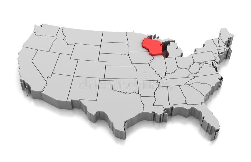 Mapa del estado de Wisconsin, los E.E.U.U. ilustración del vector