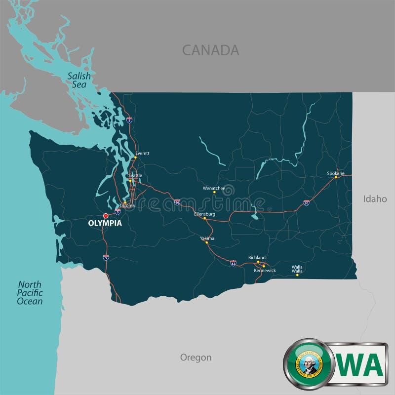 Mapa del estado Washington, los E.E.U.U. ilustración del vector