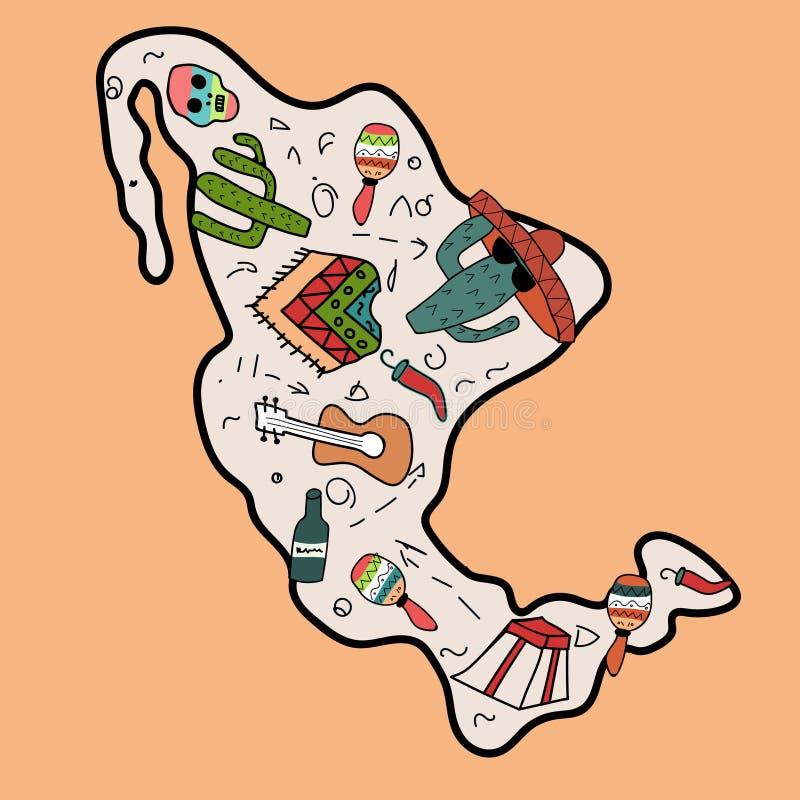 Mapa del estilo del garabato del dibujo de la mano de México ilustración del vector