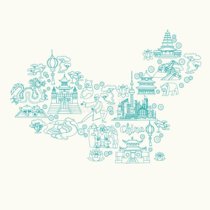 Mapa del extracto de China, ejemplo del vector del contorno stock de ilustración
