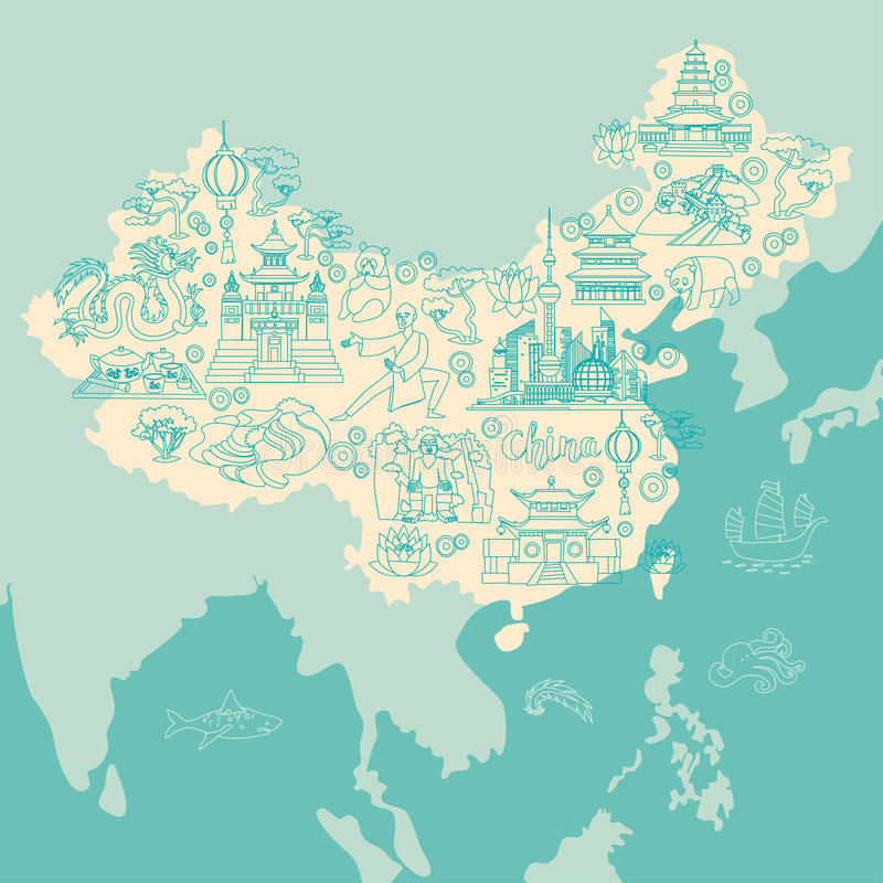 Mapa del extracto de China, ejemplo del vector del contorno libre illustration