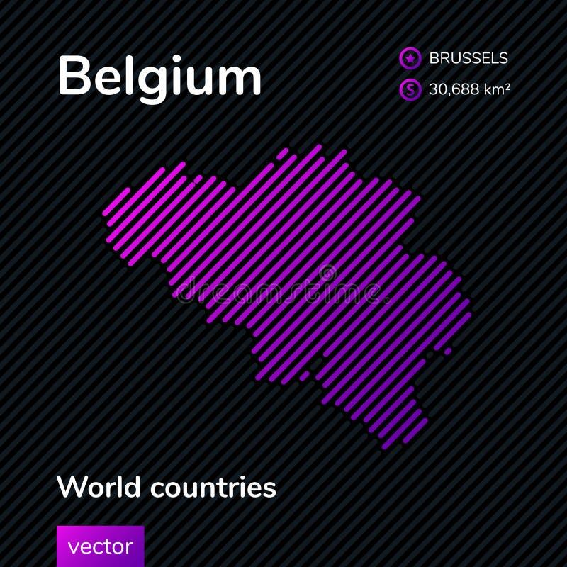 Mapa del extracto del vector de Bélgica con la textura rayada violeta libre illustration