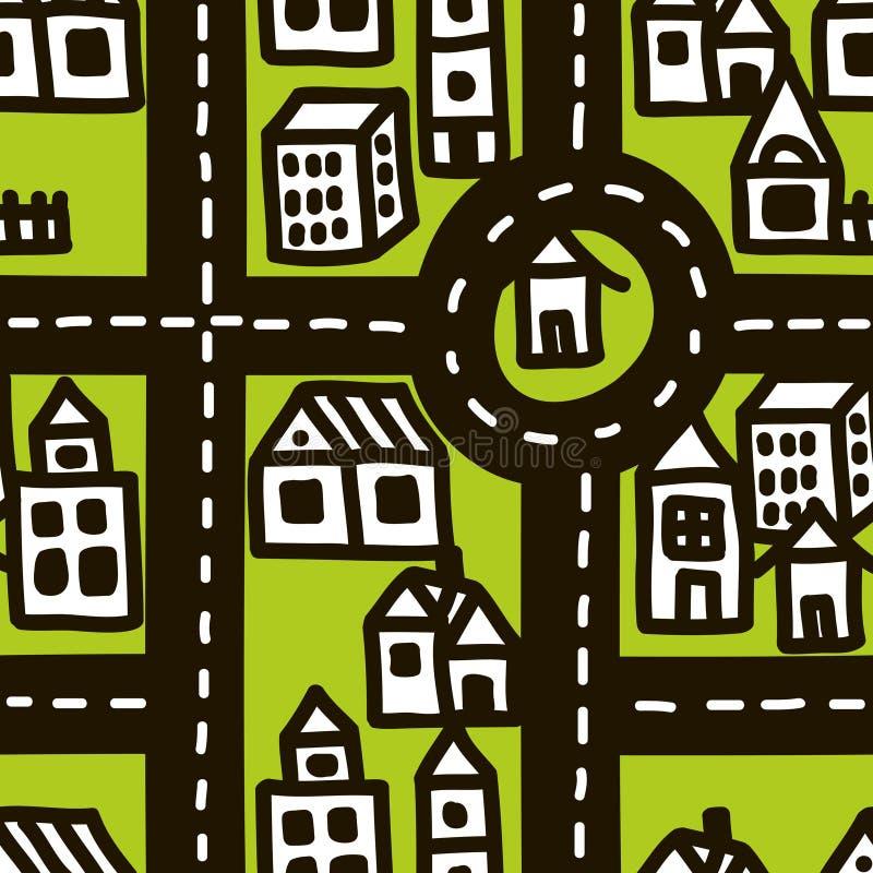 Mapa del garabato de la ciudad linda stock de ilustración