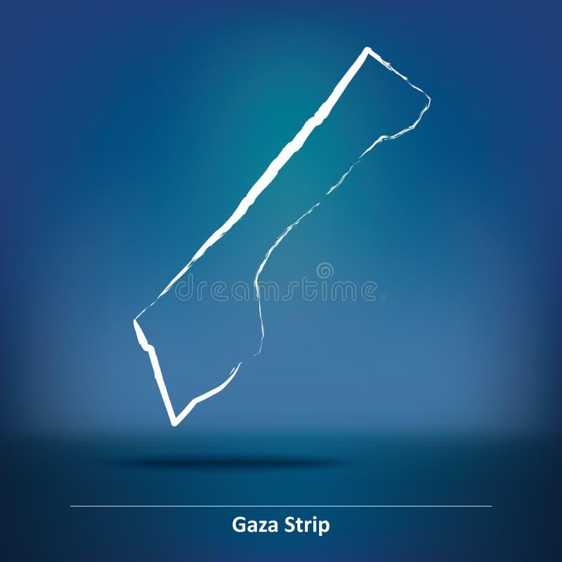 Mapa del garabato de la Franja de Gaza  ilustración del vector