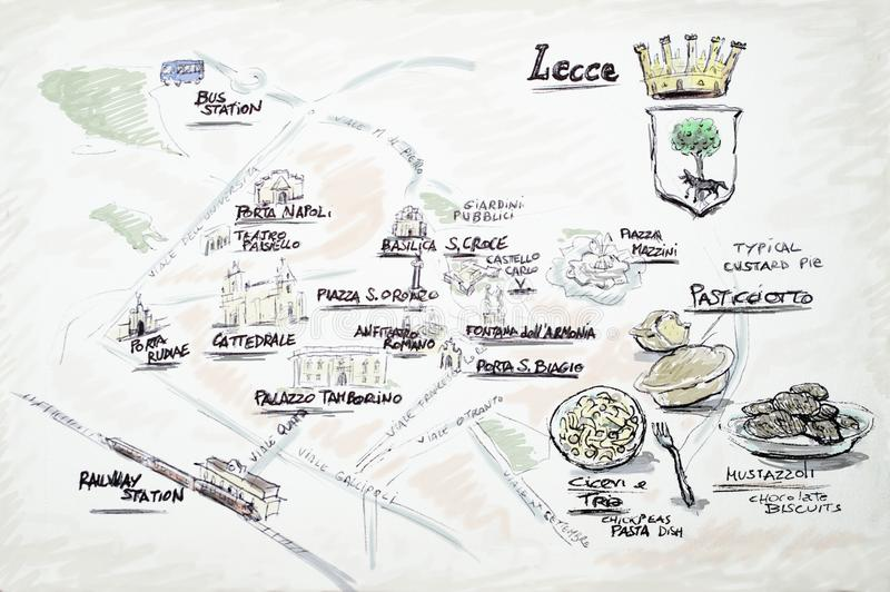 Mapa del garabato de Lecce imágenes de archivo libres de regalías