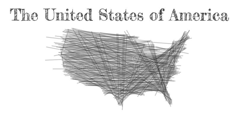 Mapa del garabato de los Estados Unidos de Am?rica Negro del mapa del país del bosquejo para infographic, los folletos y las pres ilustración del vector
