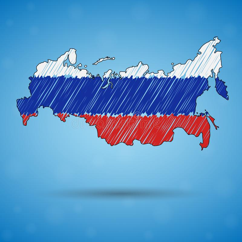 Mapa del garabato de Rusia Mapa del país del bosquejo para infographic, folletos y presentaciones, mapa de bosquejo estilizado de libre illustration
