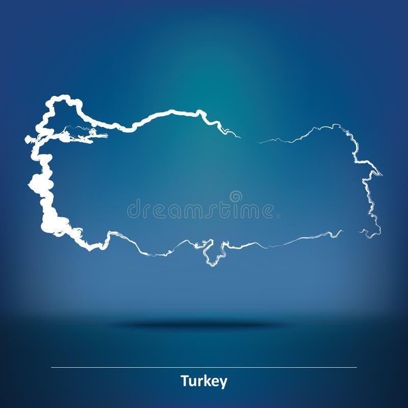 Mapa del garabato de Turquía libre illustration