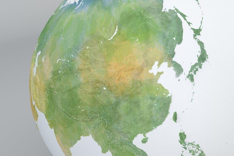 Mapa del globo de Asia, China, Corea, Japón, mapa de alivio ilustración del vector