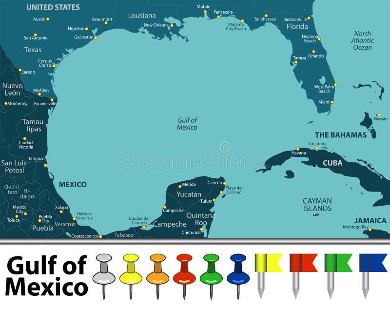 Mapa del Golfo de México ilustración del vector