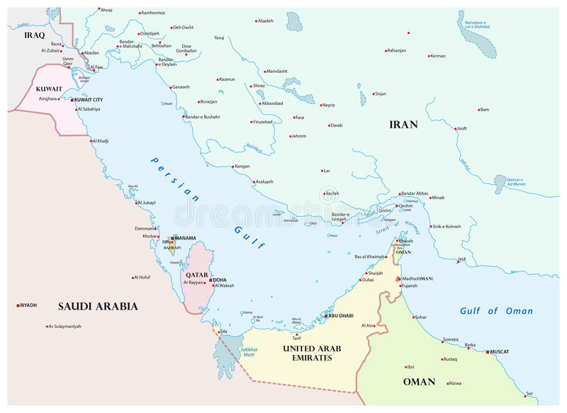 Mapa del Golfo Pérsico y de sus países vecinos ilustración del vector