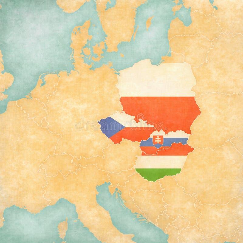 Mapa del grupo de Europa Central - de Visegrado stock de ilustración