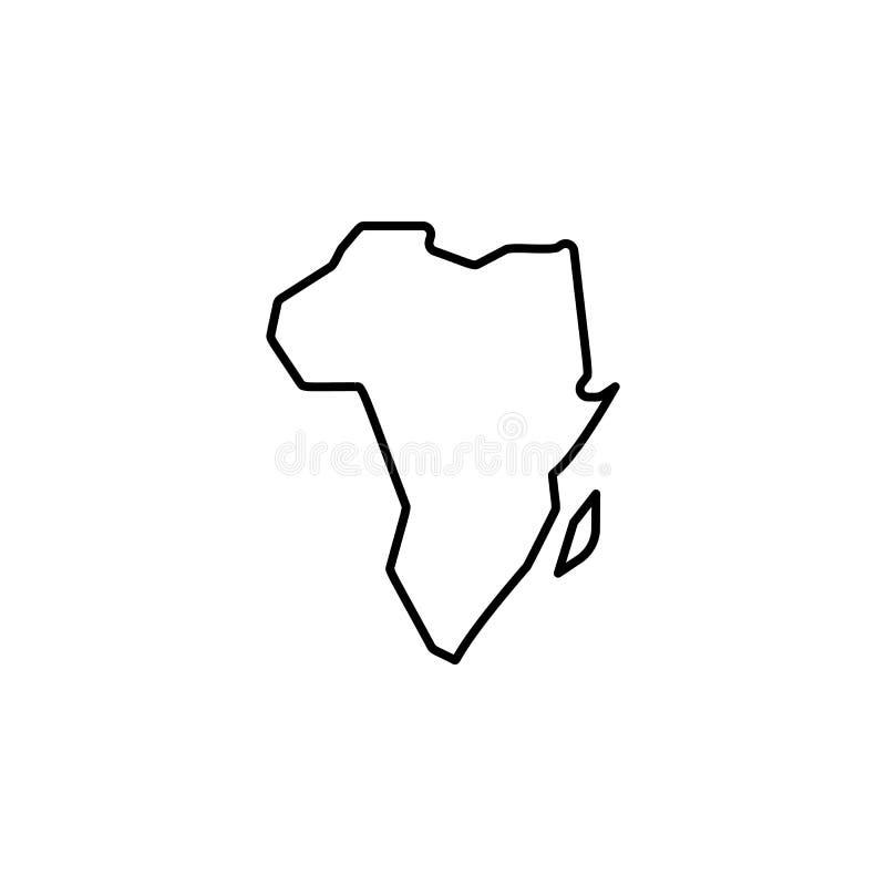 mapa del icono de África Elemento del safari para el ejemplo móvil de los apps del concepto y del web Línea fina icono para el di libre illustration