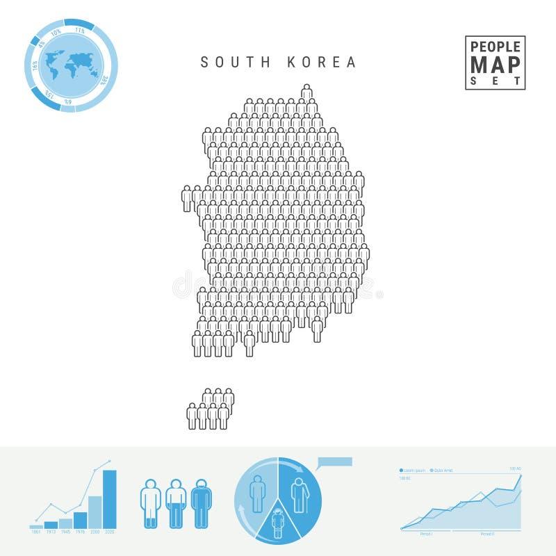 Mapa del icono de la gente de la Corea del Sur Silueta estilizada del vector de la Corea del Sur Crecimiento demográfico y enveje libre illustration