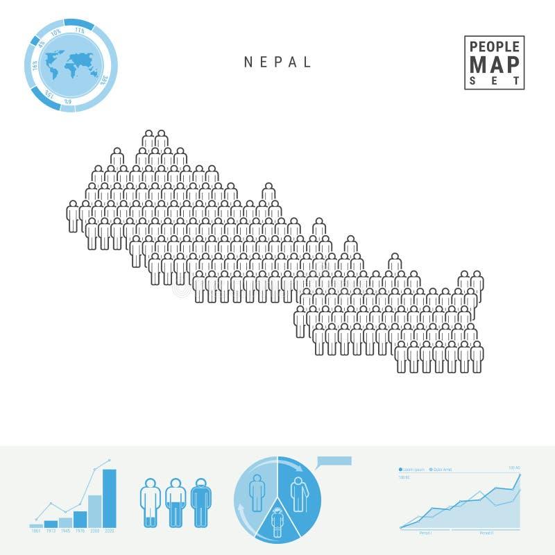 Mapa del icono de la gente de Nepal Silueta estilizada del vector de Nepal Crecimiento demográfico y envejecimiento Infographics libre illustration