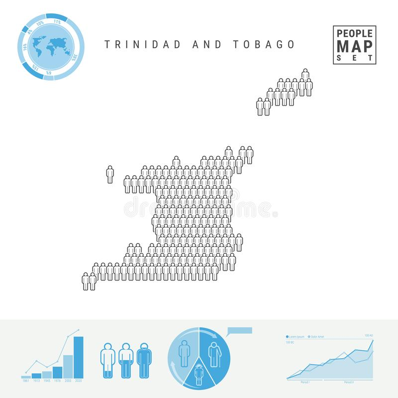 Mapa del icono de la gente de Trinidad and Tobago Silueta estilizada del vector Crecimiento demográfico y envejecimiento Infograp libre illustration