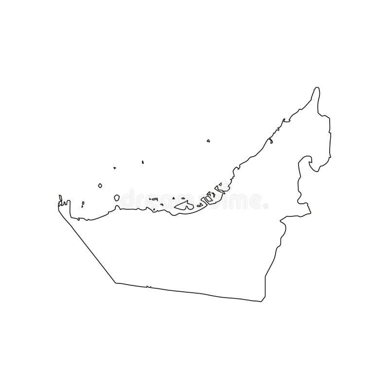 Mapa del icono de United Arab Emirates Resuma el ejemplo del mapa del icono de United Arab Emirates para el web ilustración del vector