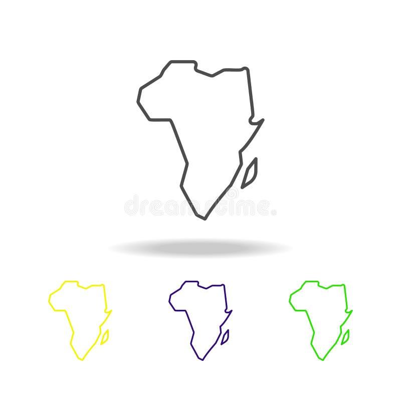 mapa del icono multicolor de África El elemento del safari se puede utilizar para la web, logotipo, app móvil, UI, UX ilustración del vector