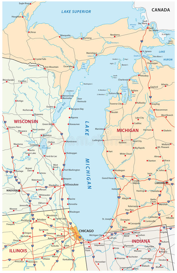 Mapa Del Lago Michigan Ilustración Del Vector Ilustración De - Mapa de michigan